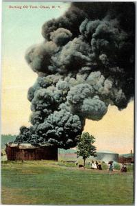 Burning Oil Tank, Olean New York Fire Smoke Vintage Postcard M09