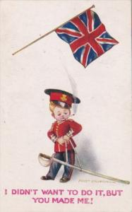 England Humour Young Boy In Uniform Smoking Cigarette With Flag 1916