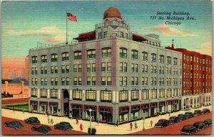 Chicago, Illinois Postcard STERLING BUILDING 737 No. Michigan Ave. Linen 1947
