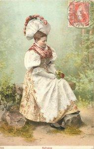 Ethnic type Postcard Switzerland woman folk costume