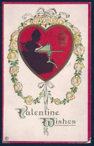 Valentine Wishes Girl in Silhouette Writing unused c1910's