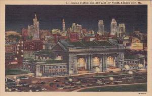 Missouri Kansas City Union Station and Skyline At Night Curteich