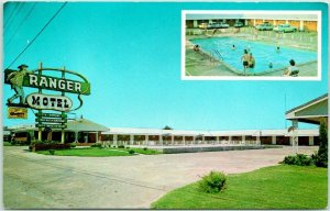 SHAMROCK, Texas ROUTE 66 Roadside Postcard THE RANGER MOTEL Chrome c1960s Unused