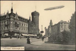 Germany Zeppelin over Cottbus Postcard 75197
