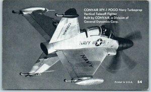Vintage Military Aircraft Mutoscope Postcard CONVAIR XFY-1 POGO Navy Turboprop