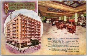 1914 St. Louis, Missouri Postcard MARYLAND HOTEL Street & Lobby Views / Poem