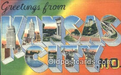 Kansas City, MO USA Large Letter Town Vintage Postcard Old Post Card Antique ...