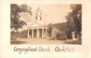 Charlotte Vermont Congregational Church Real Photo Vintage Postcard JF235271