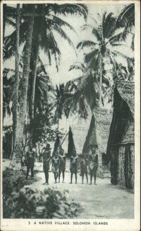 Solomon Islands Oceania Native Village c1915 Postcard
