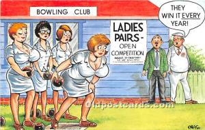 Old Vintage Bowling Postcard Post Card Bowling Club Unused