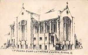 D60/ Akron Ohio RPPC Postcard 1914 St Johns Evangelical Lutheran Church Sketch