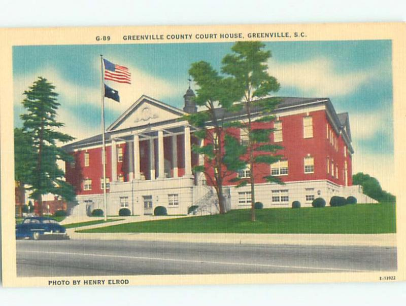Unused Linen OLD CARS & COURT HOUSE Greenville South Carolina SC n4582