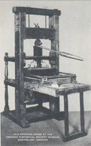 Vermont Montpelier Old Printing Press At The Vermont Historical Society Museu...