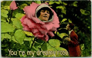 1915 Romance / Fantasy Postcard Girl's Face in Pink Rose You're My Dreamy Rose