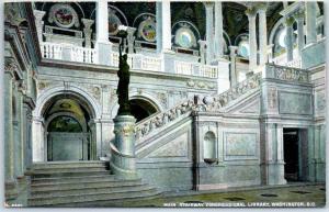 Washington DC Postcard Main Stairway, Congressional Library Bosselman c1910s