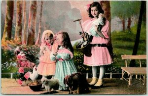 Vintage Greetings Postcard Girls Playing with Toys and Dolls - 1908 SD Cancel