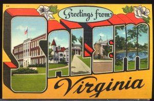 USA Postcard Large Letter Greetings From Salem Virginia