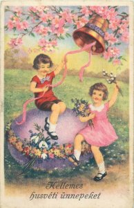 Hungary Easter fantasy early postcard children couple huge purple egg bell
