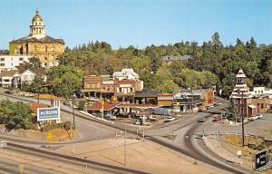 Auburn California~Old Town Area by Freeway~Station Wagons at Shell Station~1960s