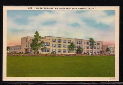 South Carolina colour PC Alumni Bldg Bob Jones University Greenville, unused