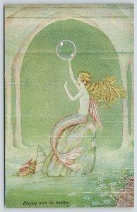 Ida Outhwaite Fantasy~Elves & Fairies~Mermaid Playing With Bubbles~Seashells~#73