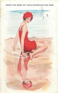 Seaside bathing beauty make the most of your opportunities now artist postcard