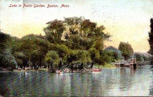 Massachusetts Boston Lake in Public Garden 1908