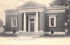 Penn Yan NY~Carnegie Public Library~Main Street~B&W 1905 Rotograph Postcard