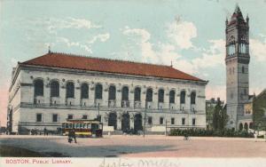 BOSTON, Massachusetts , PU-1907 ; Public Library, Trolley