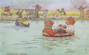 Margaret Tempest The Boat Race Medici Animals Sailing 1940s Postcard