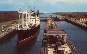 Panama - Gatun Locks. Grace Line Vessel
