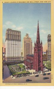 Trinity Church At Broadway and Wall Street New York City Curteich