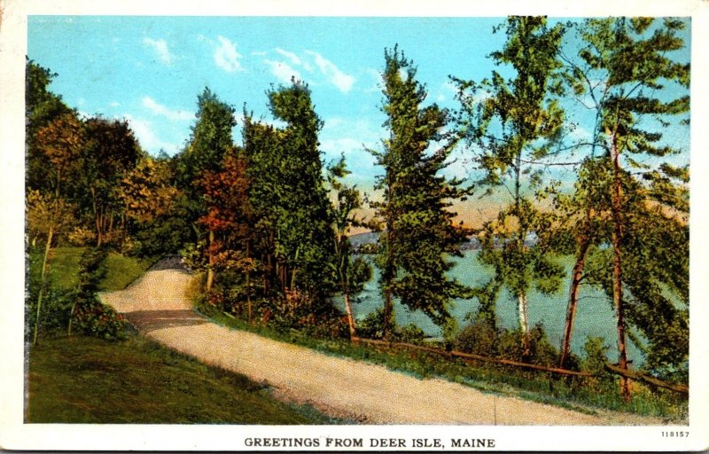 Maine Greetings From Deer Isle 1928 Curteich