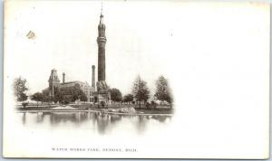 Detroit, Michigan Postcard WATER WORKS PARK Tower View c1900s Undivided Back