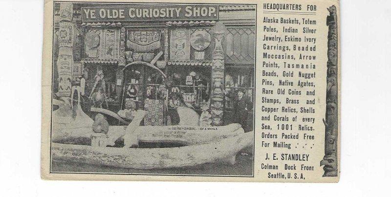 Vtg 1910's Ye Olde Curiousity Shop Seattle Advertisement Card