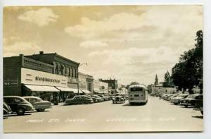Osceola IA Street Vue Bus Cars RPPC Postcard