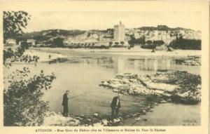 Avignon, Bras Mort du Rhone cote de Villeneuve et Ruines ...
