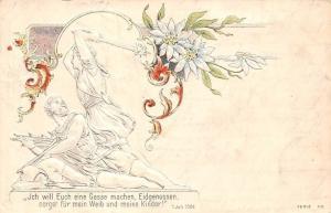 Schweiz Ich will euch eine Gasse machen Eidgenossen edelweiss embossed AK 1902