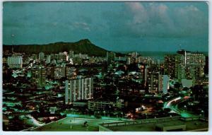 HONOLULU, Hawaii  HI    LA RONDE Revolving Restaurant  NIGHT VIEW   Postcard