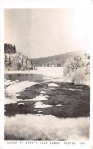 A67/ Cloyne Ontario Canada Postcard Real Photo RPPC c50s Myer's Cave Lodge