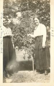 Vintage Real Photo Postcard~Ladies & Overgrown Plants~1918 RPPC