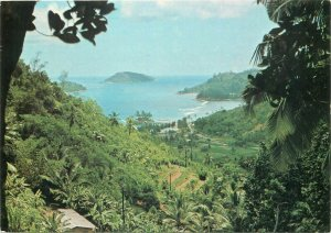 Seychelles a view of Port Glaud with Therese and Conception Islands postcard