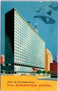 Philadelphia Pennsylvania Postcard THE SHERATON HOTEL Artist's View 1959 Cancel