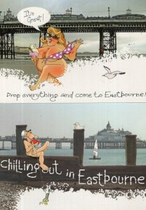 Eastbourne Ice Cream Drop Your Clothes 2x Comic Real Photo Postcard s