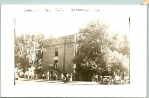 Vtg Postcard RPPC 1940s Greenup Kentucky KY greenup County Courthouse Cars