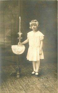 Catholic Religion St Louis Missouri Girl Cross Candle C-1910 RPPC Postcard 11894