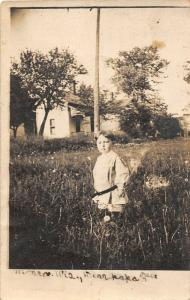 F15/ Monroe Wisconsin RPPC Postcard c1910 Boy Home