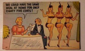 Vintage Postcard Comedy Funny husband wife chorus showgirl dancer Newport Valley