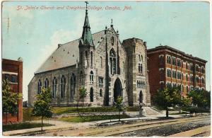 1907-15 Omaha Neb. NE Nebraska St. John's Church & Creighton College DB Postcard