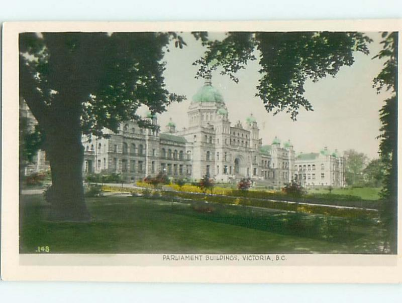 Old Colored rppc PARLIAMENT BUILDINGS IN VICTORIA British Columbia CANADA t3140